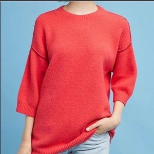 Anthropologie Moth Red Oversized Sweater small
